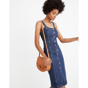 NWT Madewell Blue Denim Button-Front Tank Dress 0